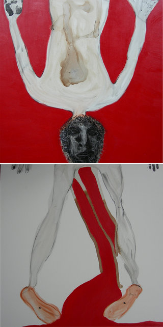 schmerz & leid diptych, 2007  200x100cm, mixed media