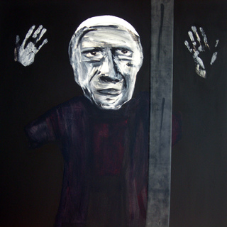 papa , 2007  100x100 cm, mixed media